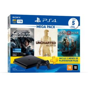 PS4 SLIM + COD MW + UNCHARTED COLLECTION + GOD OF WAR NOVO+ 3 MESES PSN