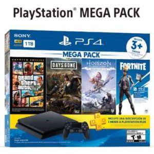 PLAYSTATION 4 SLIM 1 TB MEGA PACK FORTNITE + 3 JOGOS